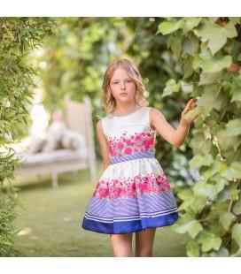 Dolce Aela - Vestido azul y blanco para niña