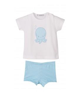 Calamaro - Conjunto boxer y camiseta Olas para bebé