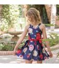 Dolce Aela - Vestido estampado azul marino para niña