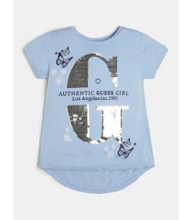 Guess - Camiseta azul lentejuelas para niña