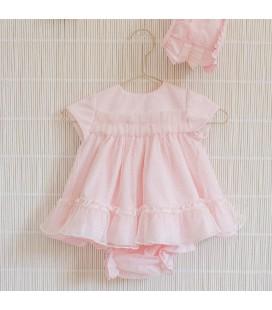 Dolce -Petit - Vestido, braguita y capota rosa oscuro