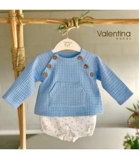 Valentina Bebés - Conjunto sudadera celeste y pantalón