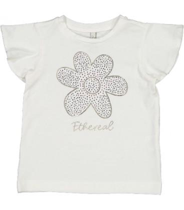 Trybeyond - Camiseta beige flor para niña