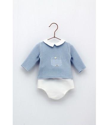 Foque - Conjunto celeste blanco para bebé
