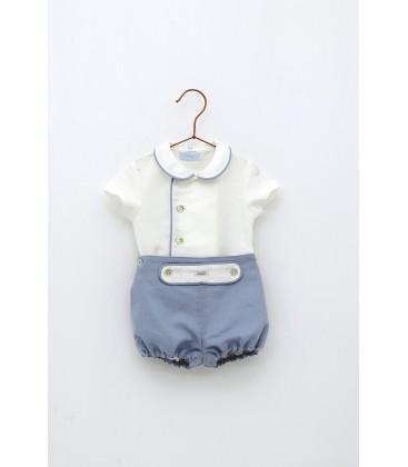 Foque - Conjunto celeste beige para bebé
