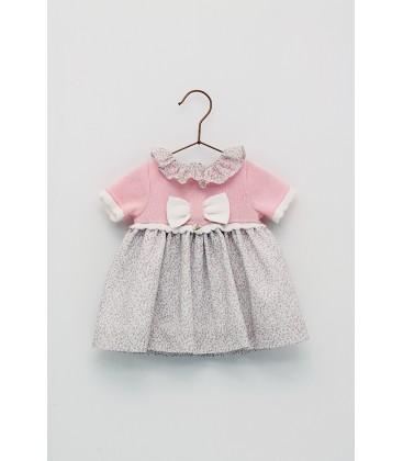 Foque - Vestido cuerpo de punto rosa para bebé