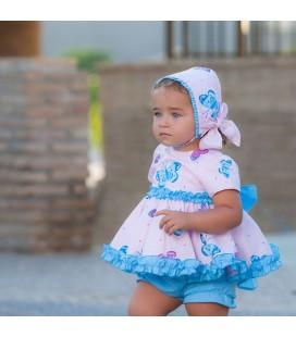 DBB Collection - Vestido + braga mariposas para bebé (Sin capota)
