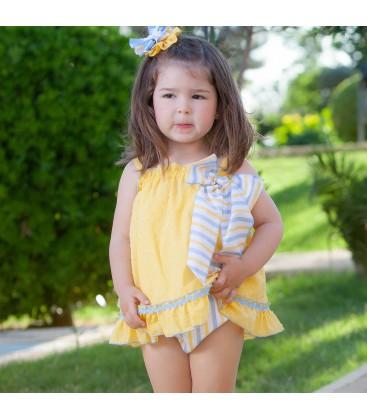 DBB Collection - Vestido + braga amarillo para bebé