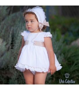 DBB Collection - Vestido + braguita + capota para bebé