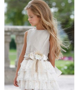Maalula - Vestido lino y beige para niña