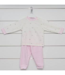Calamaro - Pijama Huellas rosa para bebé