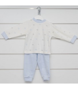 Calamaro - Pijama Huellas celeste para bebé