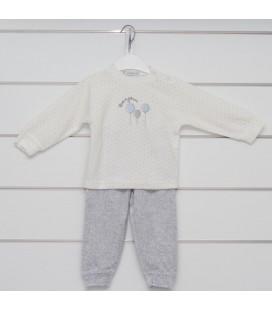 Calamaro - Pijama Globos celeste para bebé