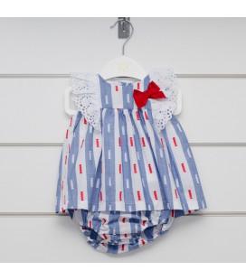 Valentina Bebés - Vestido + braga rayas azules