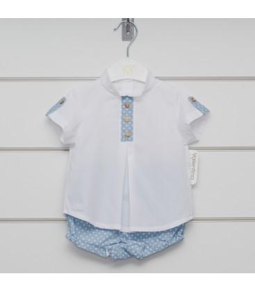 Valentina Bebés - Conjunto celeste con camisa y pantalón