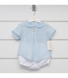 Valentina Bebés - Conjunto camisa y pantalón riscas celeste