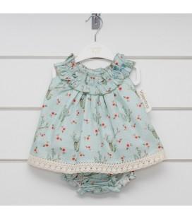 Valentina Bebés - Vestido + braga verde para bebé