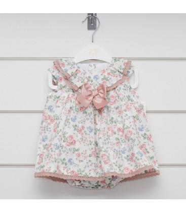 Valentina Bebés - Vestido estampado rosa + braga