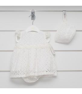 Valentina Bebés - Vestido bordado marfil para bebé
