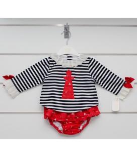 Valentina Bebés - Conjunto volantes rojo