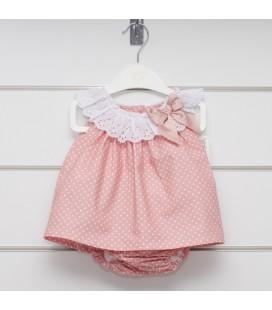 Valentina Bebés - Vestido + braga rosa empolvado