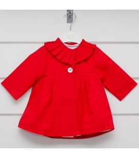 Valentina Bebés - Abrigo piqué rojo para bebé