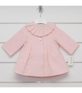 Valentina Bebés - Abrigo pliegues rosa empolvado para bebé