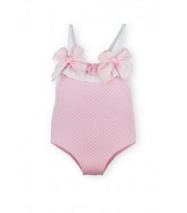 SARDON - Bañador rosa topitos para bebé