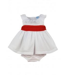 SARDON - Jesusito plumeti blanco y rojo para bebé