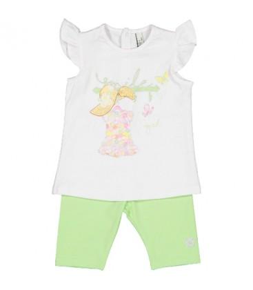Birba Conjunto blanco y verde para bebé