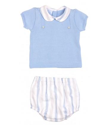 Granlei - Conjunto blusa y cubre celeste empolvado para bebé