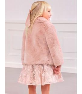 Abel&Lula - Abrigo de pelo rosa para niña