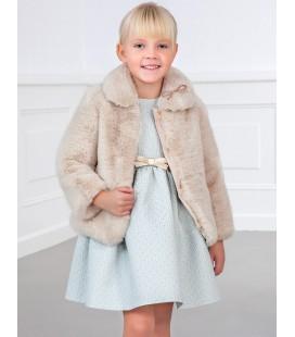 Abel&Lula - Abrigo de pelo beige para niña
