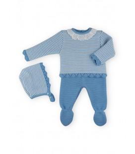 SARDON - Jubón, polaina y capota Nina azulado para niña