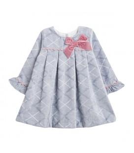 Newness - Vestido gris para bebé con lazo