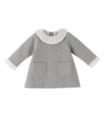 Newness - Vestido gris con bolsillos para bebé