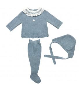Martón Aranda - Conjunto jubón, polaina y capota para bebé