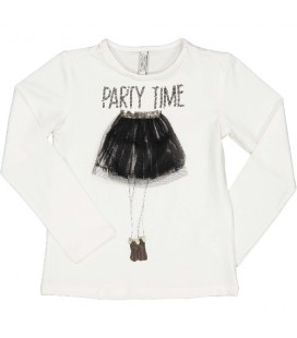Trybeyond - Camiseta beige detalle tul para niña