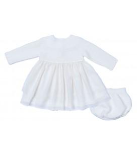 Granlei - Vestido con braguita beige y rosa para bebé