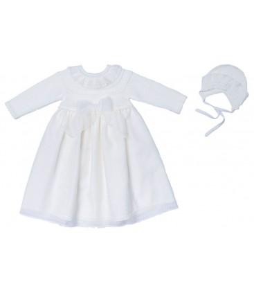 Granlei - Faldón de bautizo beige para bebé
