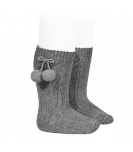 Cóndor - Calcetines altos acanalados con borlas - Gris claro