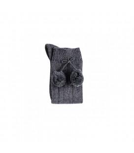 Cóndor - Calcetines altos acanalados con borlas - Antracita