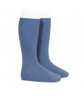 Cóndor - Calcetines altos básicos punto liso - Azul francia