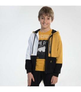 PEOPLE - Sudadera abierta mostaza para niño