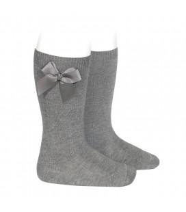 Cóndor - Calcetines altos algodón con lazo lateral - Gris claro