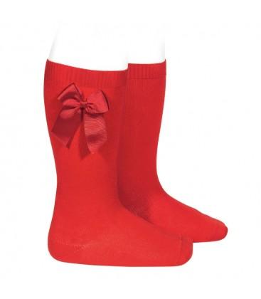 Cóndor - Calcetines altos algodón con lazo lateral - Rojo