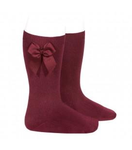 Cóndor - Calcetines altos algodón con lazo lateral - Granate
