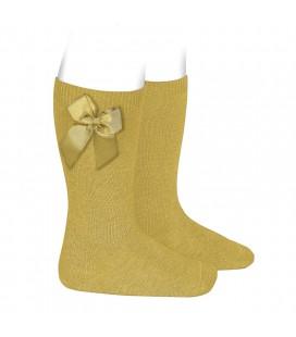 Cóndor - Calcetines altos algodón con lazo lateral - Mostaza