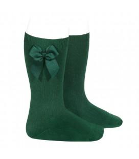 Cóndor - Calcetines altos algodón con lazo lateral - Verde botella