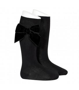 Cóndor - Calcetines altos algodón con lazo lateral - Negro